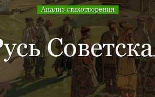 Анализ стихотворения Русь советская Есенин