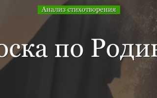 Анализ стихотворения Тоска по родине Цветаевой